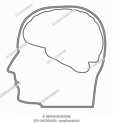 Head with brain the black color icon vector illustration