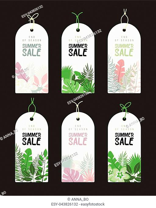 End of Season. Summer hand drawn calligraphyc sale tags set. Beautiful summer posters with palm leaves, textures and hand written text. Fashion tags