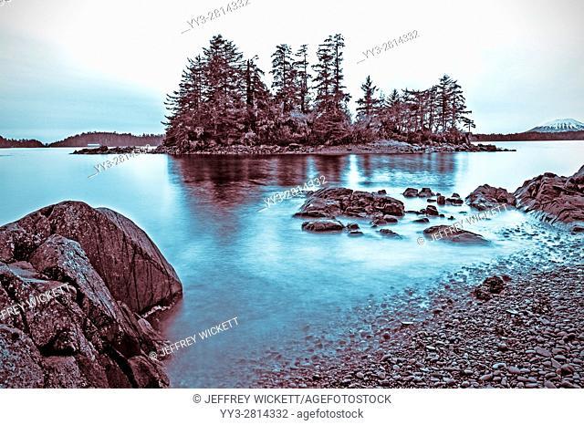 Magic Island as seen from Halibut Point Recreation Site near Sitka, Alaska, USA