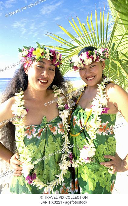 Polynesian Girls Dressed in Pareu (Sarong) & Leis (Flower Garlands), Rarotonga, Polynesia / South Pacific, Cook Islands