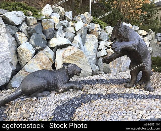 Sculpture of two tigers on Karabelnaya embankment in Vladivostok, Far East, Russia, Russian. This embankment isn't very long
