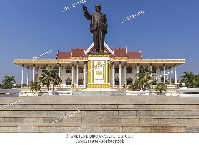Laos, Vientiane, Kaysone Phomivan Museum, building exterior and statue of Kaysone Phomivan, former Lao Communist leader