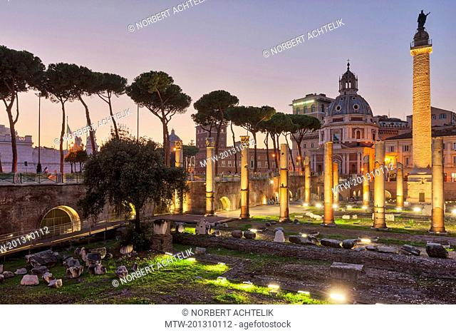 Trajans Forum lit up at dusk, Rome, Italy