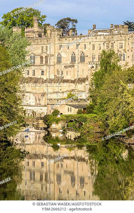Warwick Castle and the River Avon, Warwickshire, England, United Kingdom, Europe
