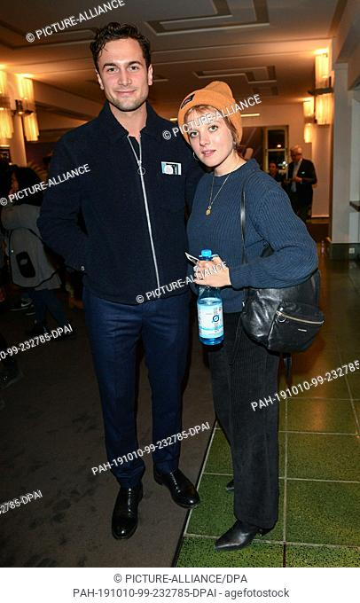"""09 October 2019, Berlin: Samuel Schneider and Jella Haase come to the premiere of """"""""Faith in the Possibility of the Complete Renewal of the World"""""""" in the..."""