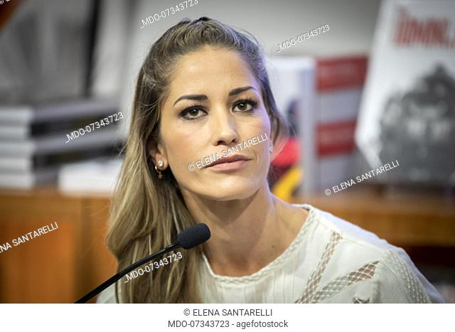 Italian TV host, actress, showgirl and former model Elena Santarelli presents her book Una Mamma lo Sa at Feltrinelli Galleria in Milan with the participation...