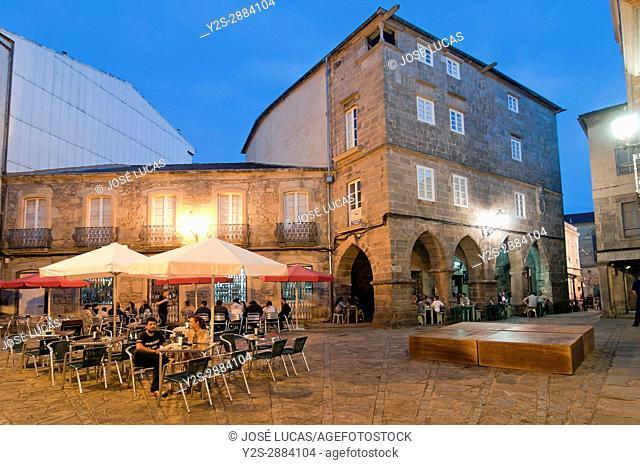 Terrace bar at old town, Noia, La Coruna province, Region of Galicia, Spain, Europe