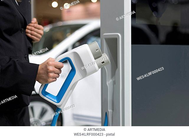 Electric vehicle charging, close-up