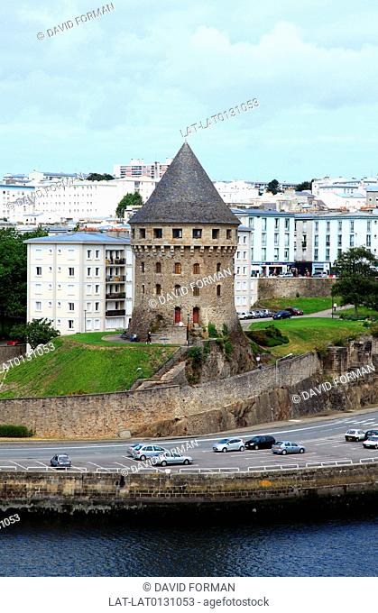 The Tour Tanguy, Bastille de Quilbignon or Tour de la Motte Tanguy is a medieval tower on a rocky motte beside the Penfeld river in Brest
