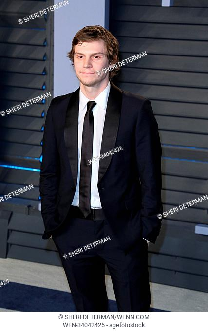 Vanity Fair Oscars Party 2018 was held at the Wallis Annenberg Center for the Performing Arts in Beverly Hills, California Featuring: Evan Peters Where: Los...