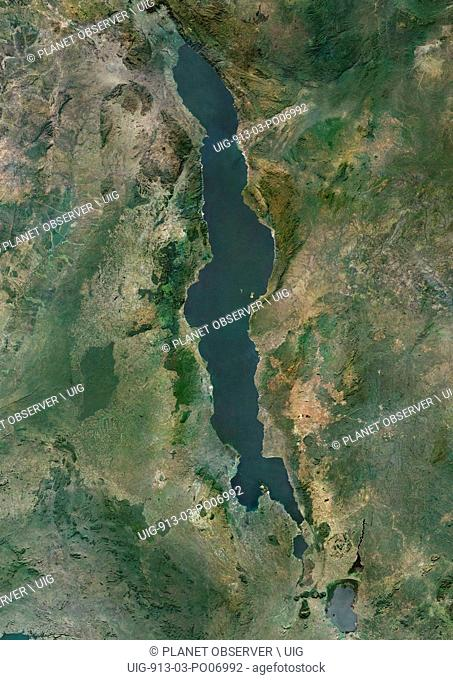 Satellite view of Lake Malawi, an African Great Lake situated between Malawi, Mozambique, and Tanzania. This image was compiled from data acquired by Landsat...