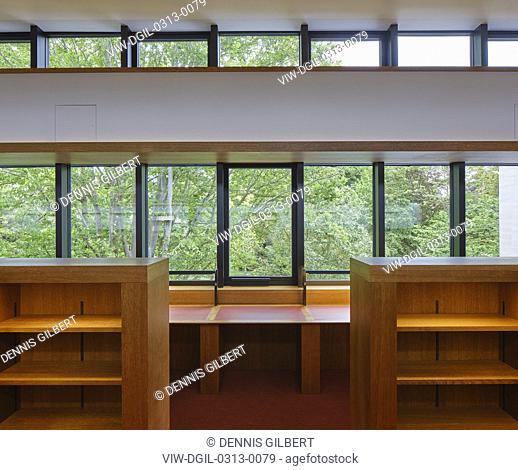 Detail with window in first floor reading room. Study Centre at St John's College Library, Oxford, United Kingdom. Architect: Wright & Wright Architects LLP