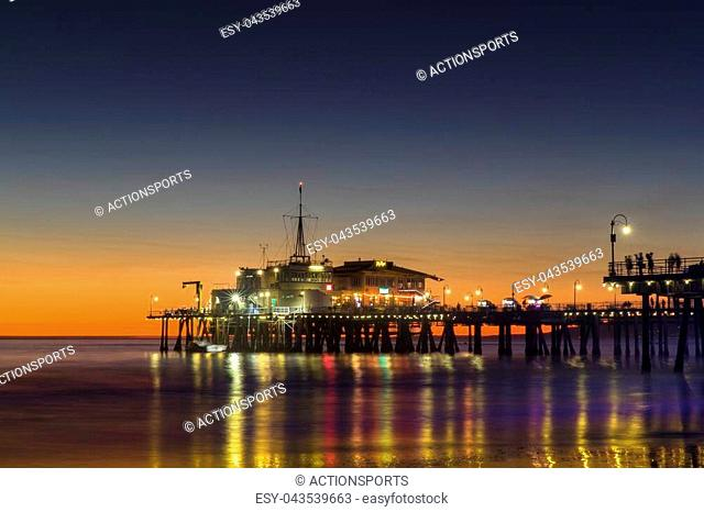 Historic Santa Monica Pier at Sunset