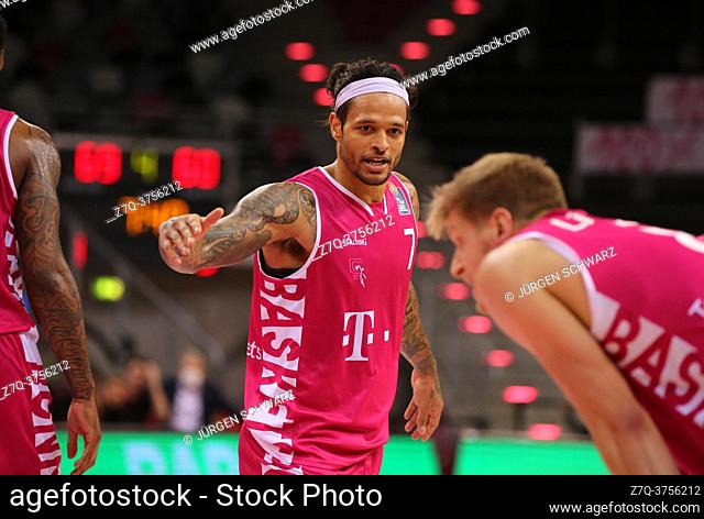 Bonn, Germany, 09. 01. 2021, Telekom Dome, Basketball Bundesliga, Telekom Baskets Bonn vs s. Oliver Wuerzburg: Chris Babb (Bonn) gestures