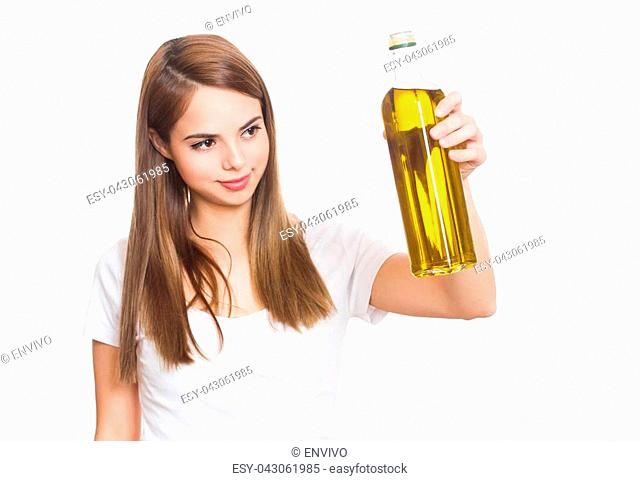 Portrait of beautiful young brunette woman and healthy food