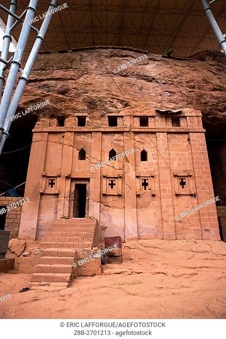 Ethiopia, Amhara Region, Lalibela, bete aba libanos monolithic rock-cut church