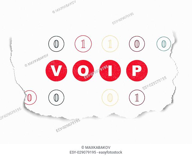 Web design concept: Painted red text VOIP on Torn Paper background with Scheme Of Binary Code, 3d render