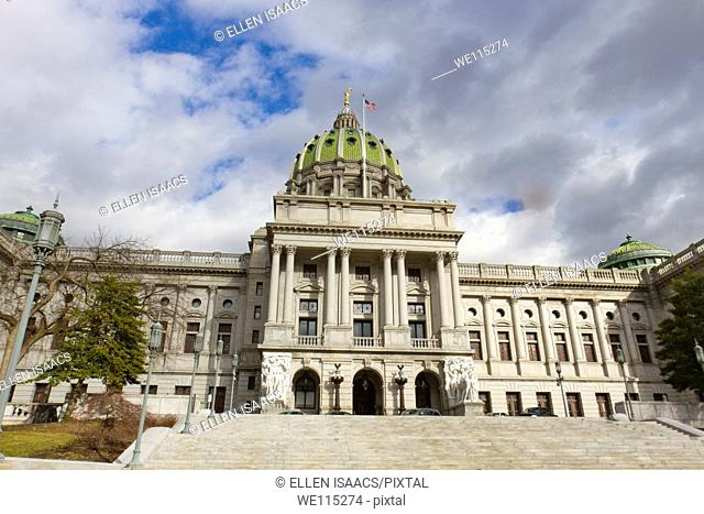 Front of the Pennsylvania state capitol building or statehouse in Harrisburg