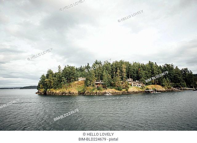 Houses on island