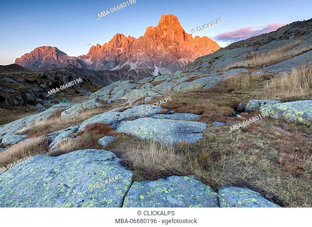 Europe, Italy, Trentino, Rolle pass. Pale di San Martino (Dolomites) views from Cavallazza (Lagorai) at sunset