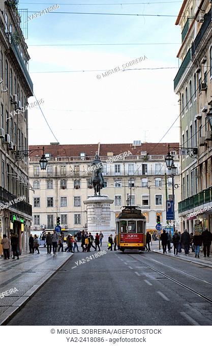 Rua da Prata Towards Rossio in Lisbon - Portugal