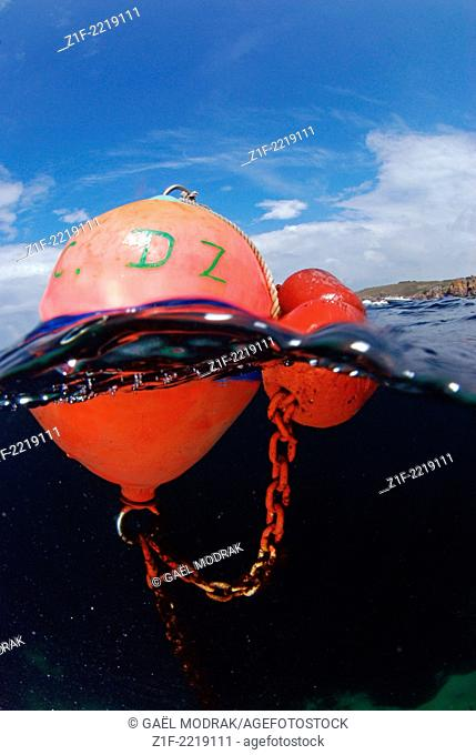 Buoy beside the shore of Brittany, France. DZ for Douarnenez