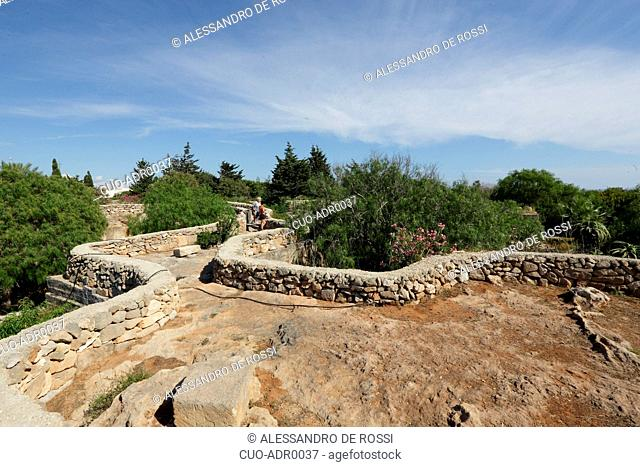 Giardini Ipogei, underground gardens, Villa Margherita, Campo Gabriella, Favignana island, Aegadian Islands, Sicily, Italy, Europe