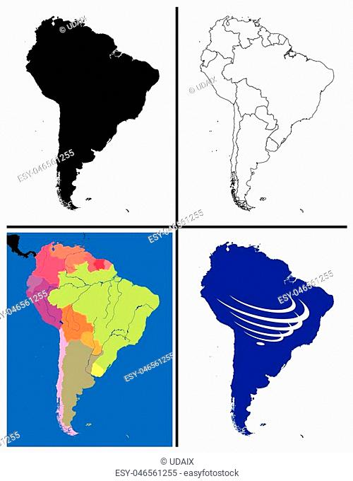 South America Maps Collection including silhouette political line art topographic also with south america countries union flag UNASUR draw for full continent...