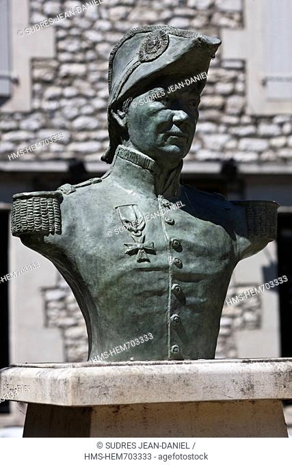 France, Lot, Souillac, Statue of Admiral Raymond, Jean Baptiste de Saint Maur Verninac, commander of the Legion of Honor