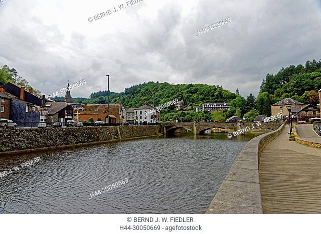 Local view, river, Ourthe, La Smelling Roche-en-Ardenne Belgium