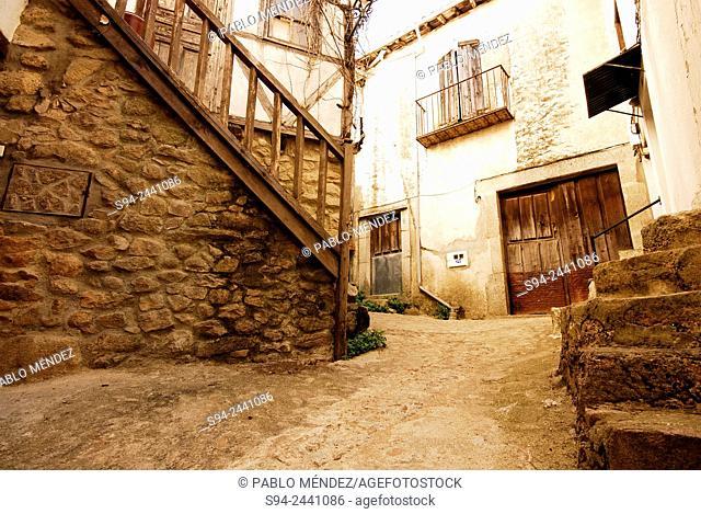 Corner and street of Mogarraz, Salamanca, Spain