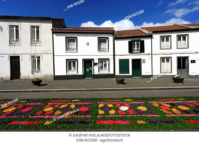 The streets of Furnas decorated for the Procissao do Senhor dos Enfermos Procession of Our Lord of the Sick  Sao Miguel island, Azores, Portugal