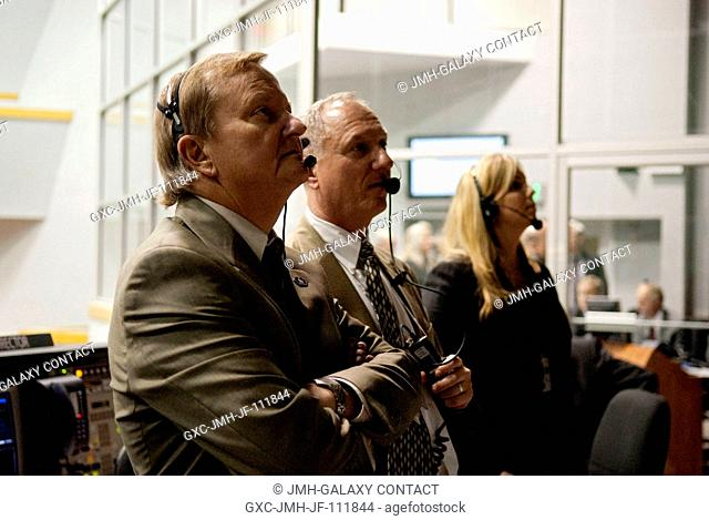 From left, Mike Leinbach, shuttle launch director; Pete Nickolenko, assistant launch director; and Dana Hutcherson, flow director for space shuttle Endeavour