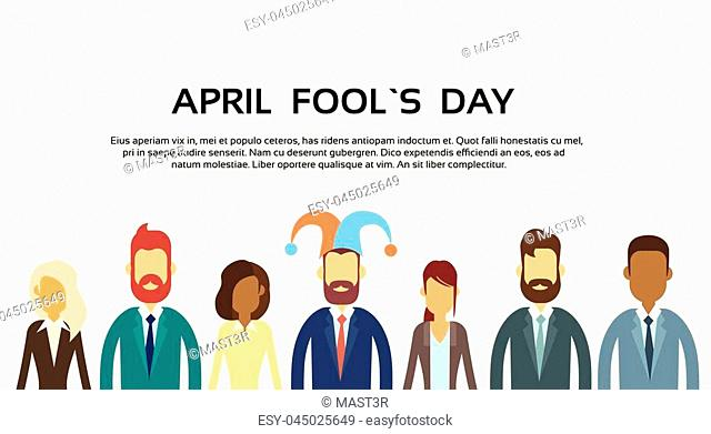 Business People Group Wear Jester Hat, Fool Day April Holiday Banner Copy Space Illustration