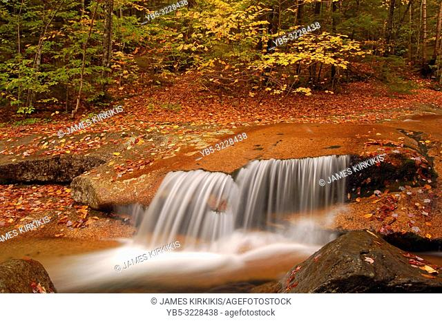 A small waterfall gracefully glides over a rock ledge in autumn