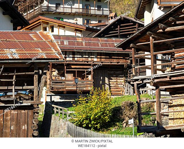 Traditional barns called Tabia, alpine architecture in Falcade in Val Biois. Europe, Central Europe, Italy