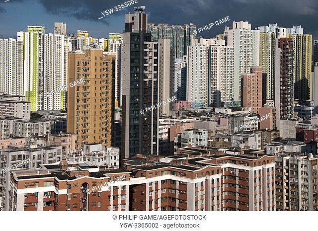 Skyscraper skyline of Sham Shui Po district, Kowloon, Hong Kong, China