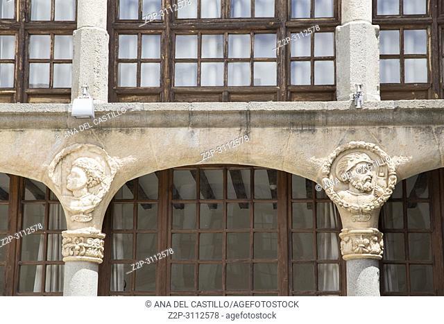 State run hotel Parador in Zamora on June 3, 2018 Spain. Courtyard detail
