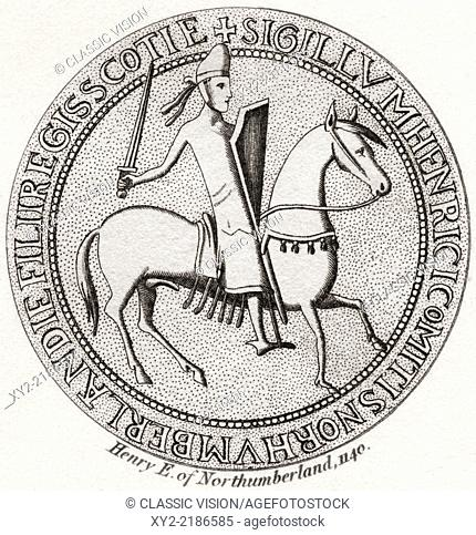 Seal of Henry of Scotland, 1114 – 1152. Prince of Scotland, heir to the Kingdom of Alba, 3rd Earl of Northumberland and 3rd Earl of the Honour of Huntingdon and...