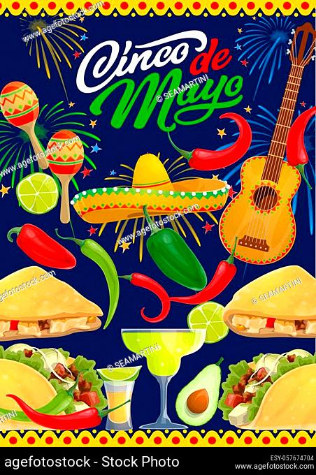 Cinco de Mayo fiesta party guitar, sombrero, food and drink of Mexican holiday vector greeting card. Mariachi maracas, tequila margarita and chilli, tacos