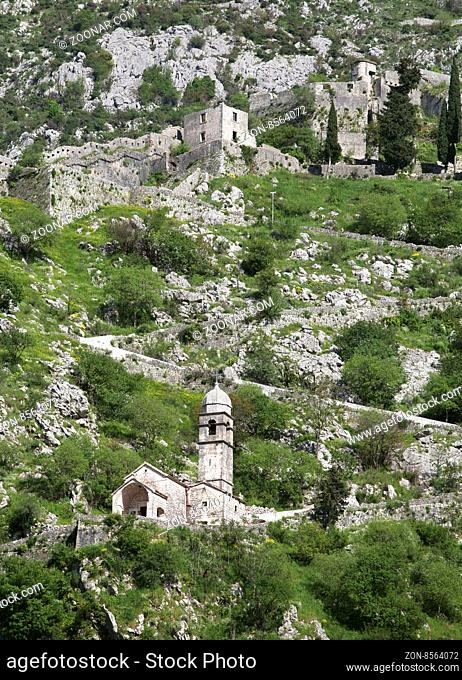 Ruins of the fortress of St John over Kotor, Montenegro