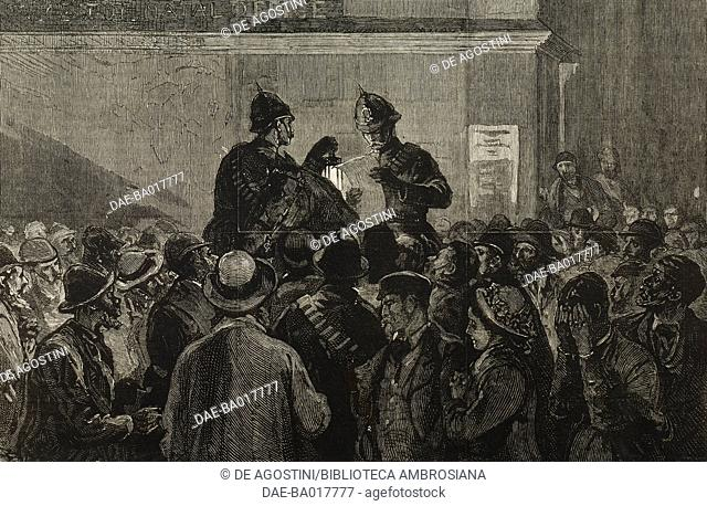 Reading the list of the missing carabineers after the battle of Isandula, Pietermaritzburg, South Africa, Anglo-Zulu War