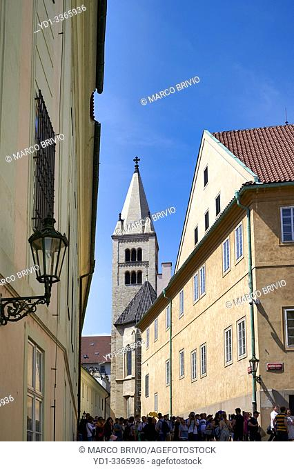Prague Czech Republic. The medieval streets at the castle