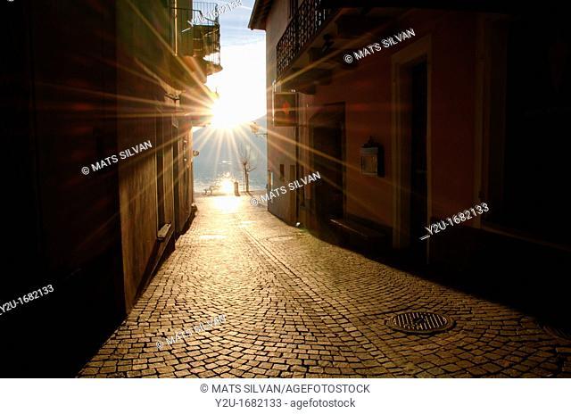 Alley in backlight