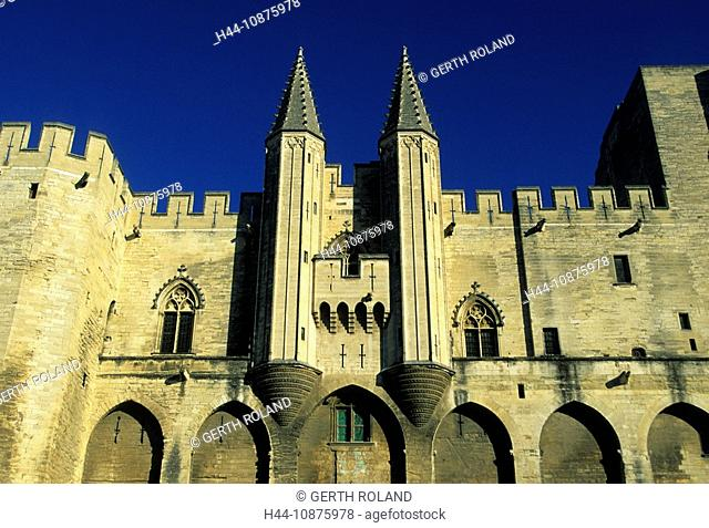 Avignon, France, Provence, Vaucluse, town, city, Old Town, pope's palace, towers, rooks