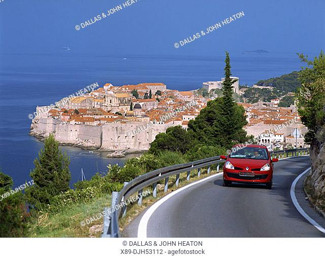 Croatia, Dubrovnik, Old Town, Old Harbour, City Wall, Cliff Road, Adriatic sea