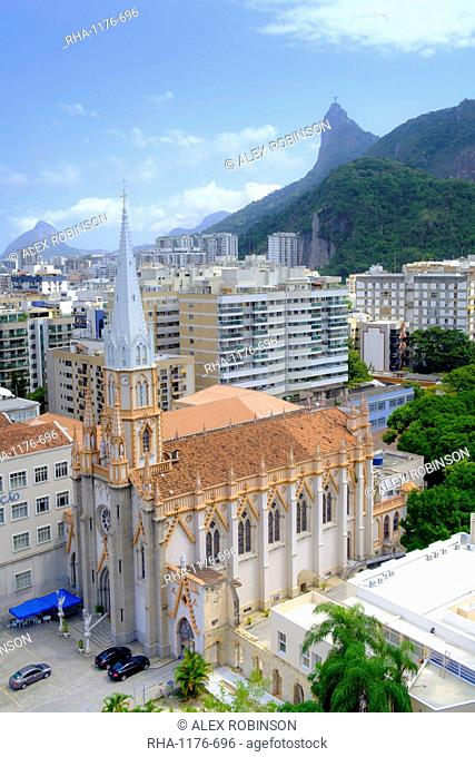 Church of the Immaculate Conception (Imaculada Conceicao) and the Christ on Corcovado mountain from Botafogo neighbourhood, Rio de Janeiro, Brazil