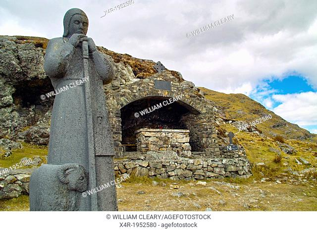 Statue of St. Patrick, Ireland's patron saint, and an Altar, at Maumeen pass, Maamturk Mountains, County Galway, Ireland