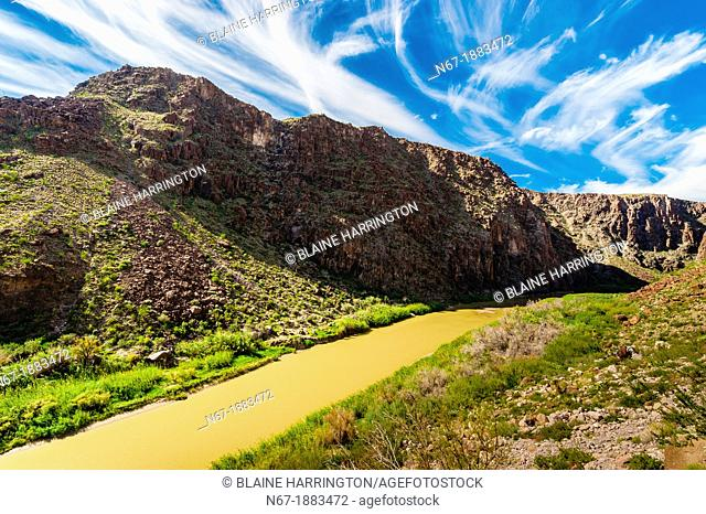 The Camino del Rio along the Rio Grande River, which is the border of the USA and Mexico  Mexico is in background, Big Bend Ranch State Park, Texas USA