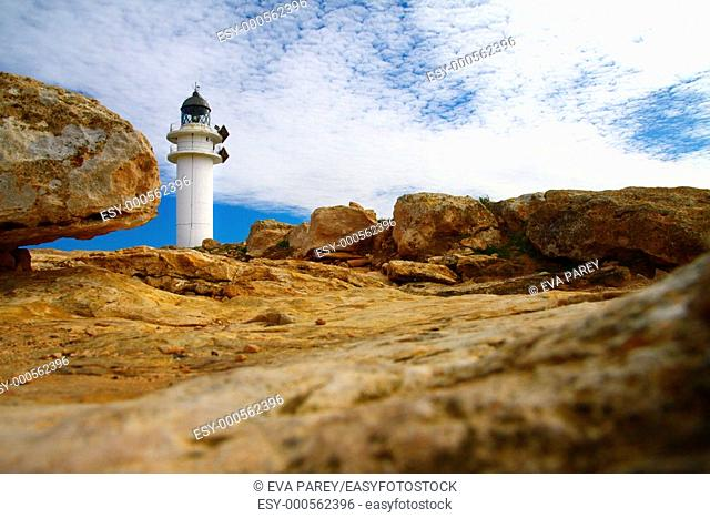 The lighthouse of 'Cap de Barbaria' in the island of Formentera Baleares, Spain